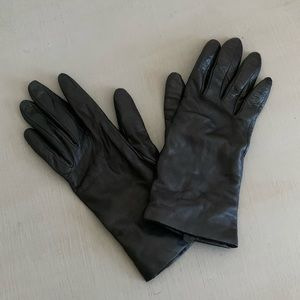 "Cashmere Lined Leather Gloves ""U